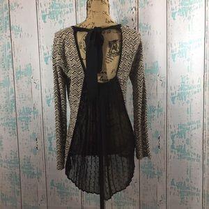 Anthropologie A'reve sweater w/longer sheer back